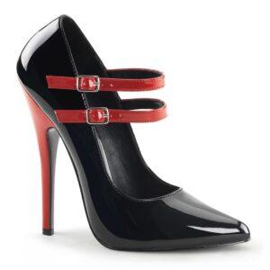 "domina-442, devious, domina 442, black and red, dominatrix, 6"" pump, heel, high heel, stiletto"