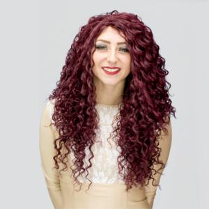 maroon red crossdresser wig
