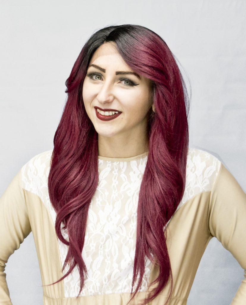 black/burgundy crossdresser wig