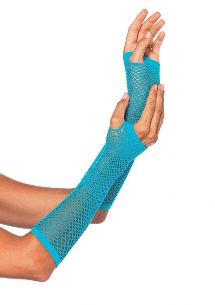 Triangle Net Fingerless Gloves – Neon Blue