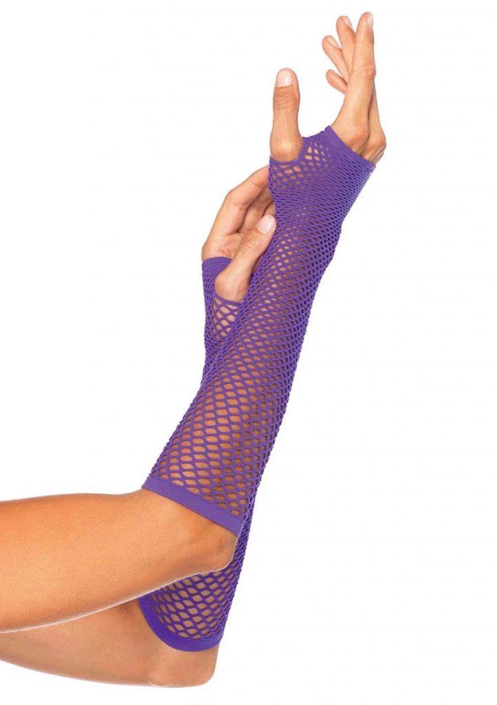 Triangle Net Fingerless Gloves – Purple