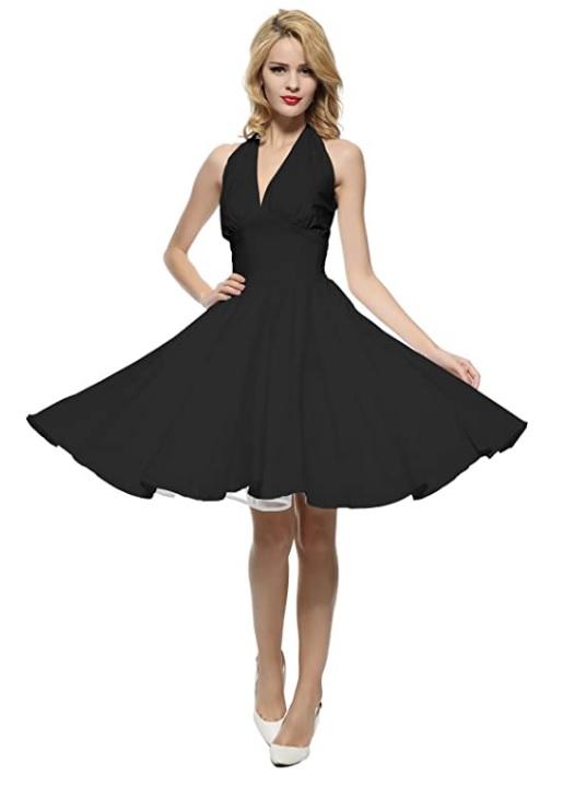 Rockabilly Halter Neck Dress – Black