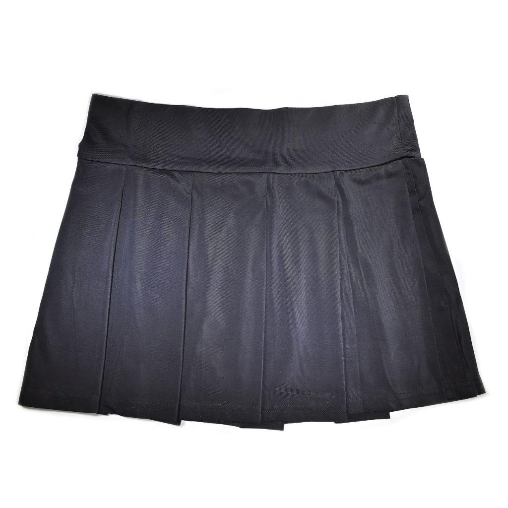 Stretchy Pleated Mini Skirt – Black