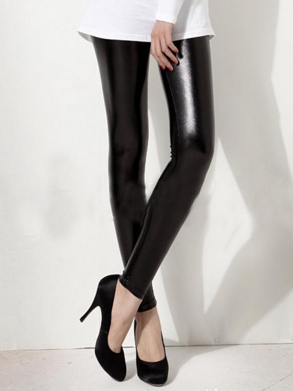 Wet Look Leggings – Black