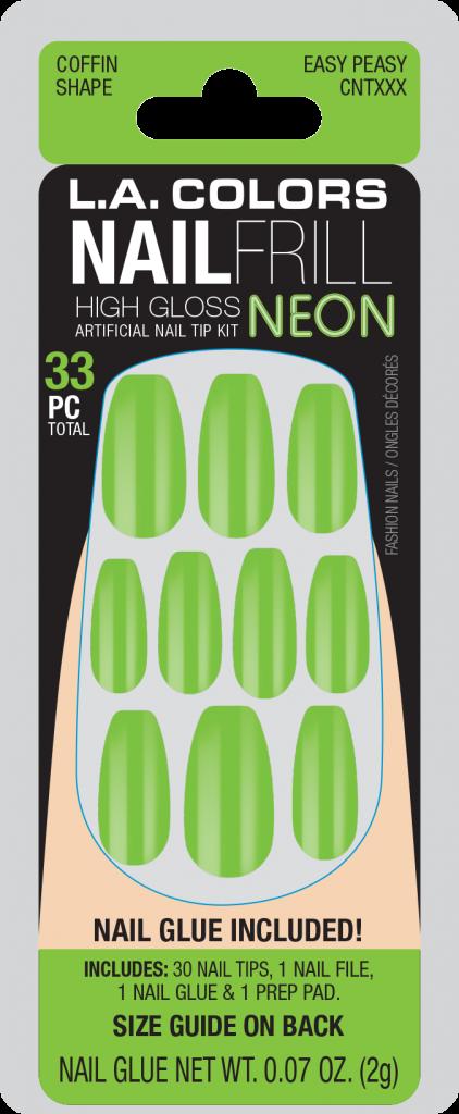 LA Colors Nail Frill Neon High Gloss Nails – Easy Peasy