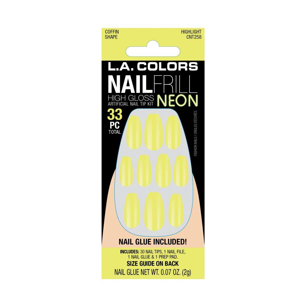 LA Colors Nail Frill Neon High Gloss Nails – Highlight