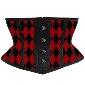 Daisy Corsets Lavish Harlequin Harley Quinn Black and Red Diamond Waist Cincher